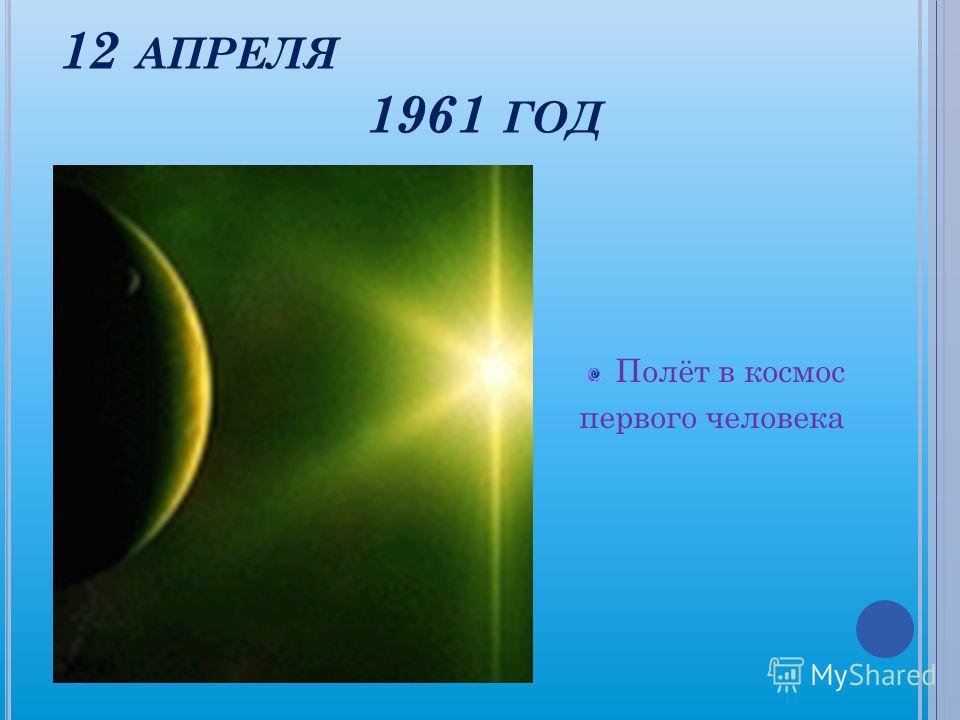12 АПРЕЛЯ 1961 ГОД Полёт в космос первого человека