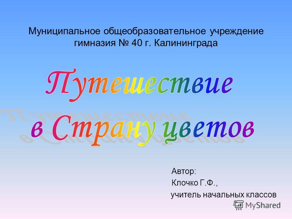 Муниципальное общеобразовательное учреждение гимназия 40 г. Калининграда Автор: Клочко Г.Ф., учитель начальных классов