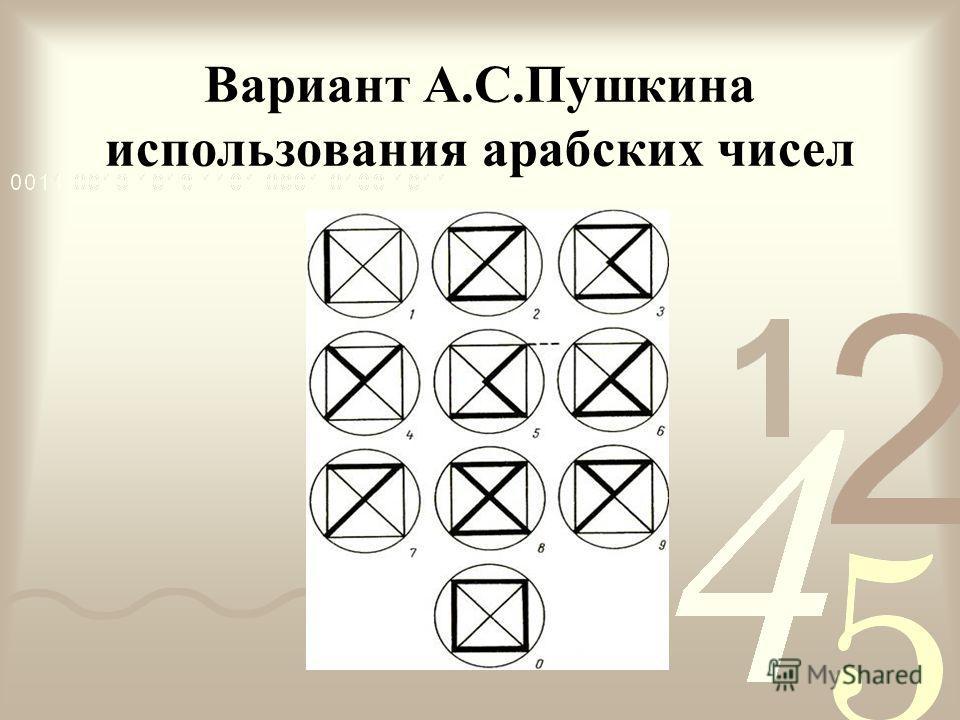 Вариант А.С.Пушкина использования арабских чисел