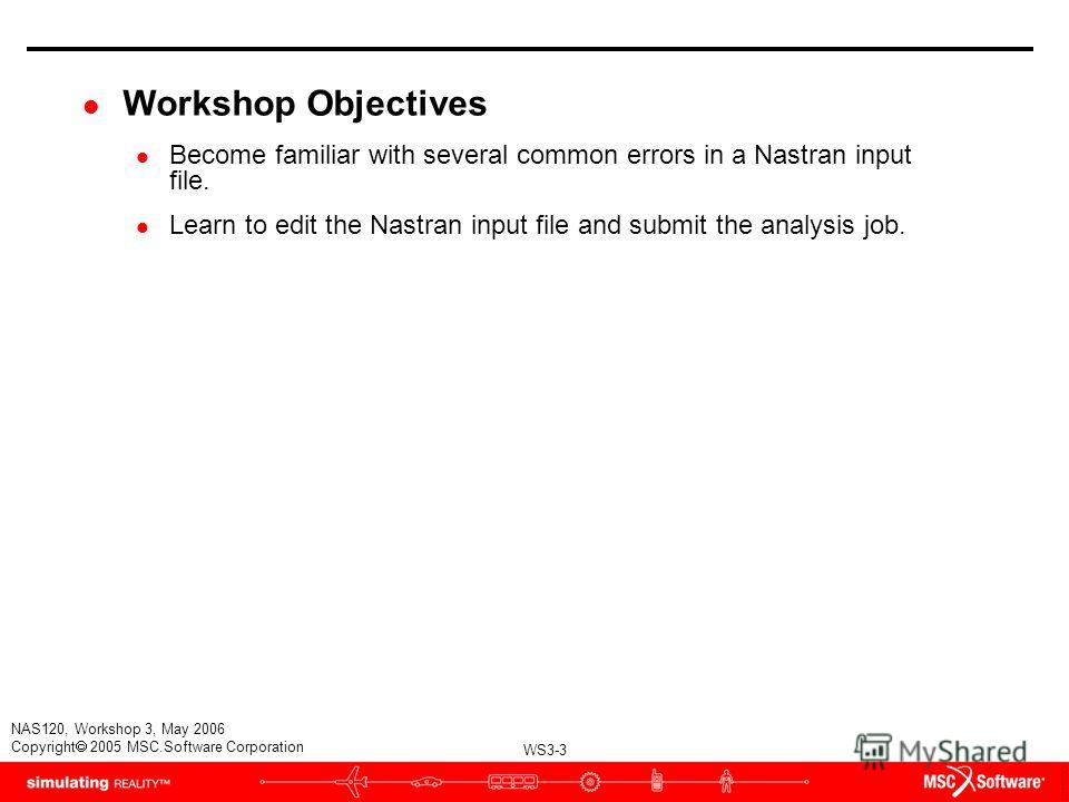 WS3-3 NAS120, Workshop 3, May 2006 Copyright 2005 MSC.Software Corporation l Workshop Objectives l Become familiar with several common errors in a Nastran input file. l Learn to edit the Nastran input file and submit the analysis job.