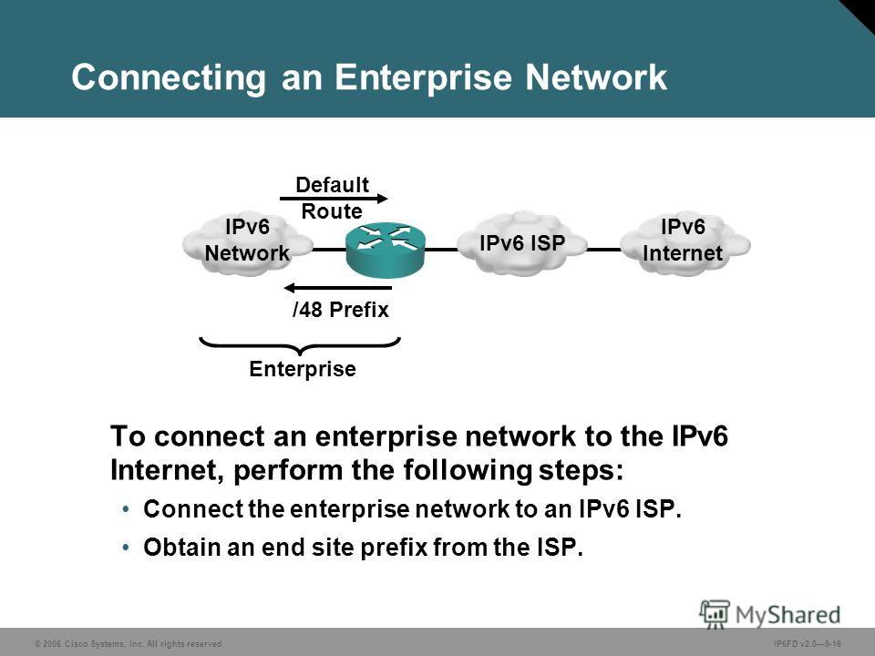 © 2006 Cisco Systems, Inc. All rights reserved.IP6FD v2.09-16 Connecting an Enterprise Network To connect an enterprise network to the IPv6 Internet, perform the following steps: Connect the enterprise network to an IPv6 ISP. Obtain an end site prefi