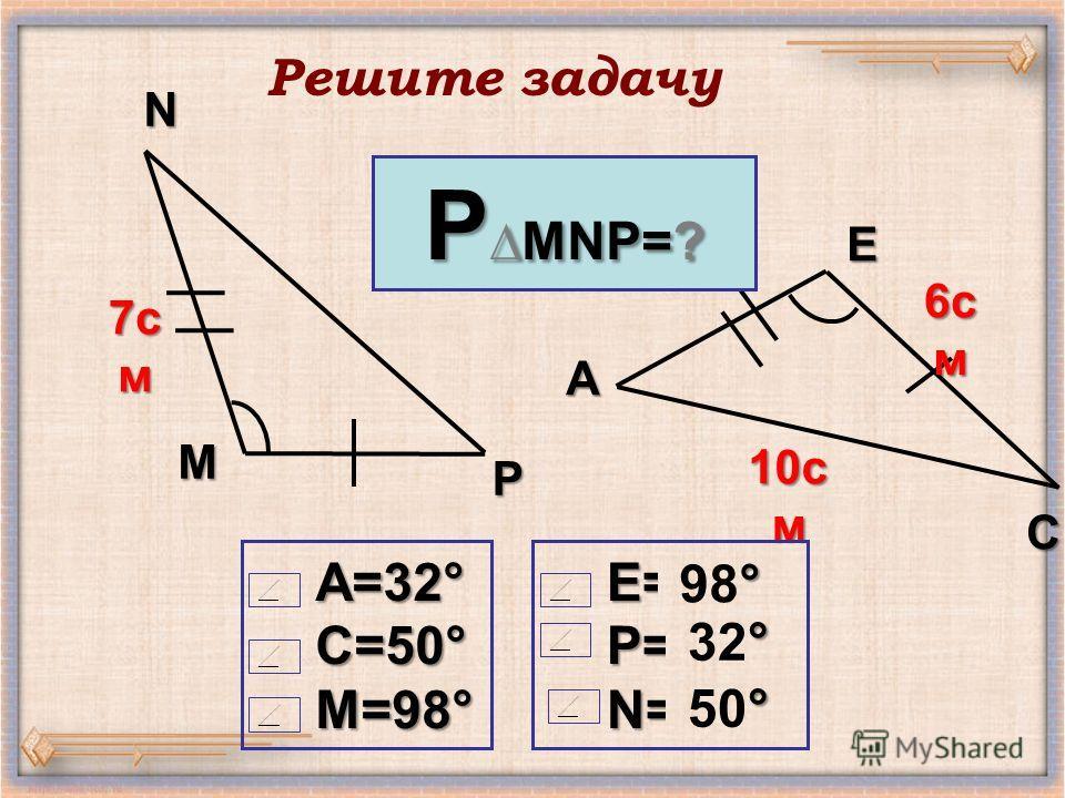 M N P E C A 7 см 7 см 7 см 7 см 6 с м 10 с м PMNP=? A=32°C=50°M=98°E=?P=?N=? ° 98° ° 32° ° 50° Решите задачу
