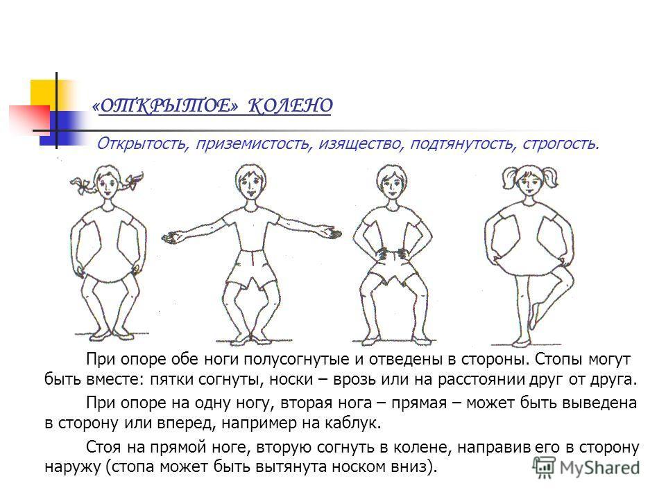 «ОТКРЫТОЕ» КОЛЕНО Открытость, приземистость, изящество, подтянутость, строгость. При опоре обе ноги полусогнутые и отведены в стороны. Стопы могут быть вместе: пятки согнуты, носки – врозь или на расстоянии друг от друга. При опоре на одну ногу, втор