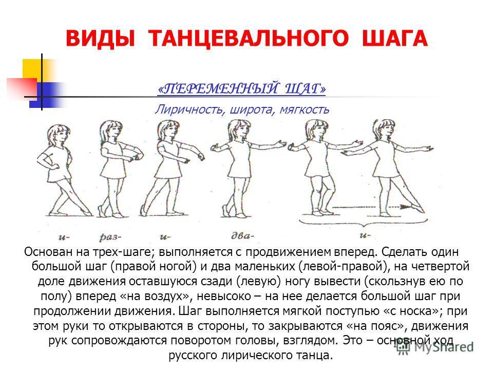 ВИДЫ ТАНЦЕВАЛЬНОГО ШАГА «ПЕРЕМЕННЫЙ ШАГ» Лиричность, широта, мягкость Основан на трех-шаге; выполняется с продвижением вперед. Сделать один большой шаг (правой ногой) и два маленьких (левой-правой), на четвертой доле движения оставшуюся сзади (левую)