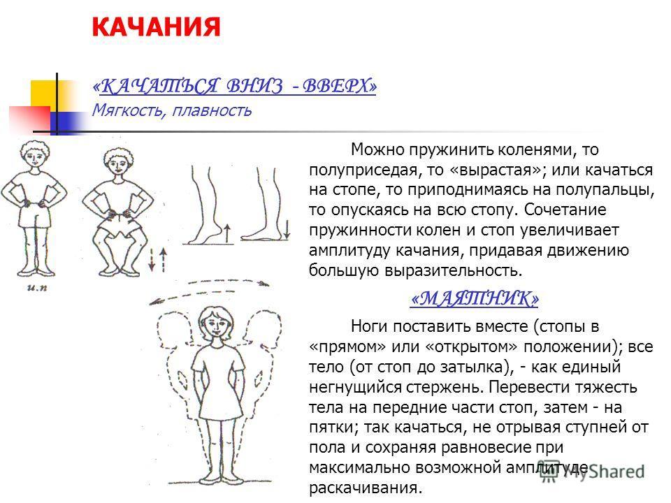 КАЧАНИЯ «КАЧАТЬСЯ ВНИЗ - ВВЕРХ» Мягкость, плавность Можно пружинить коленями, то полуприседая, то «вырастая»; или качаться на стопе, то приподнимаясь на полупальцы, то опускаясь на всю стопу. Сочетание пружинности колен и стоп увеличивает амплитуду к