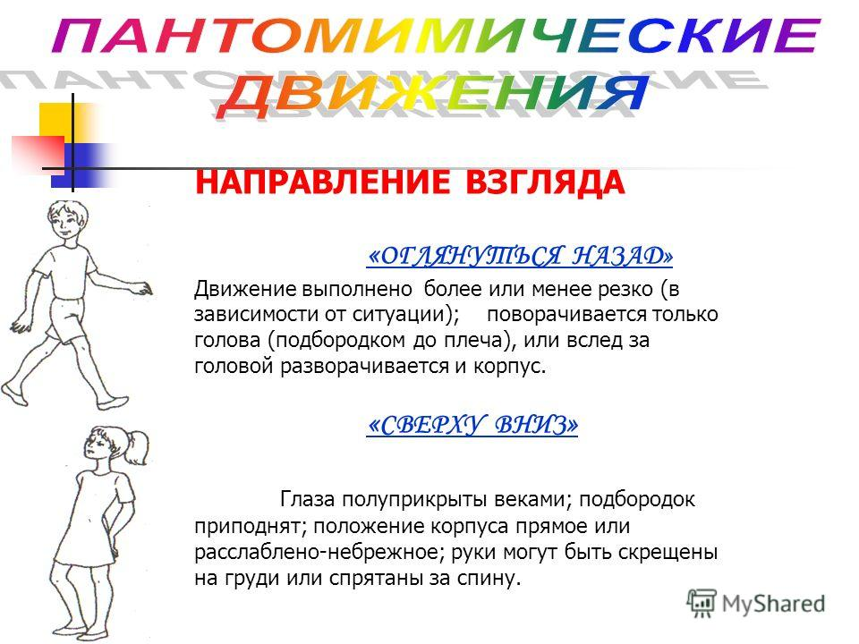 НАПРАВЛЕНИЕ ВЗГЛЯДА « ОГЛЯНУТЬСЯ НАЗАД» Движение выполнено более или менее резко (в зависимости от ситуации); поворачивается только голова (подбородком до плеча), или вслед за головой разворачивается и корпус. « СВЕРХУ ВНИЗ » Глаза полуприкрыты векам