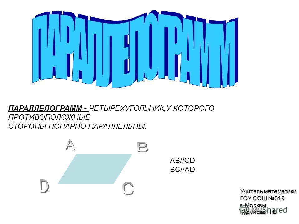 ПАРАЛЛЕЛОГРАММ - ЧЕТЫРЕХУГОЛЬНИК,У КОТОРОГО ПРОТИВОПОЛОЖНЫЕ СТОРОНЫ ПОПАРНО ПАРАЛЛЕЛЬНЫ. AB//CD BC//AD Учитель математики ГОУ СОШ 619 г. Москвы Годунова Н.В.