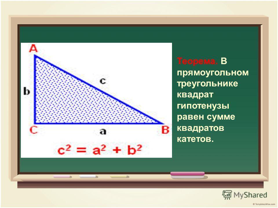 Теорема. В прямоугольном треугольнике квадрат гипотенузы равен сумме квадратов катетов.