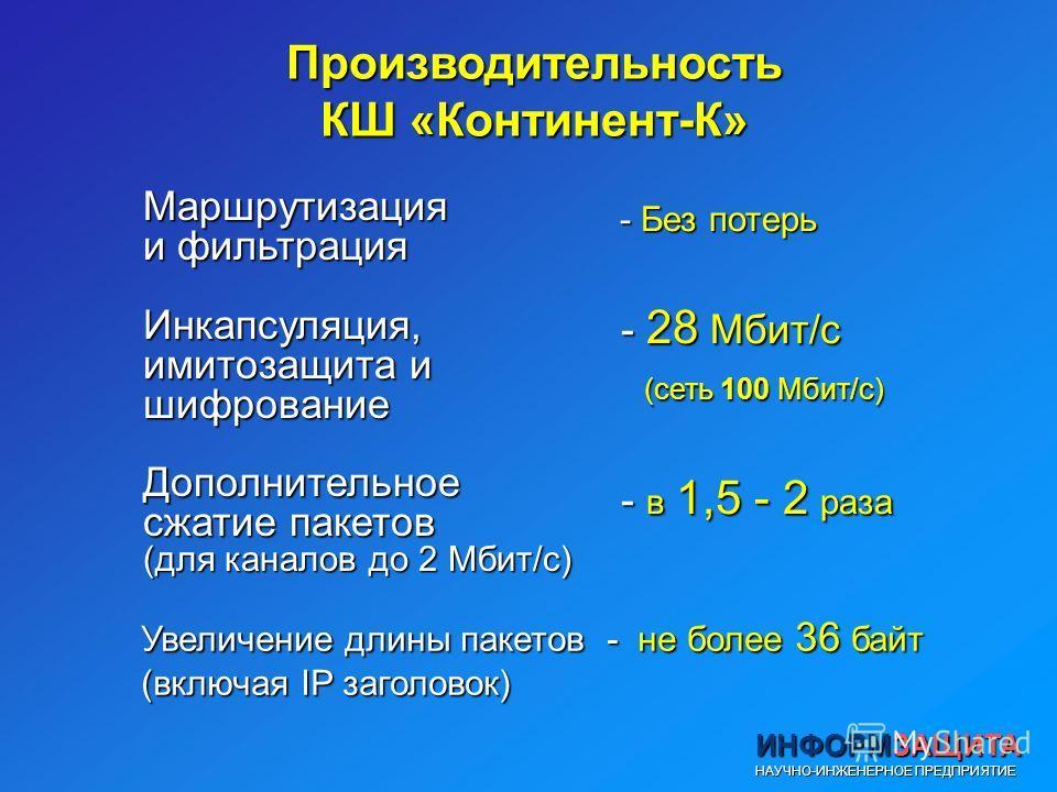 ИНФОРМЗАЩИТА НАУЧНО-ИНЖЕНЕРНОЕ ПРЕДПРИЯТИЕ Производительность КШ «Континент-К» Маршрутизация и фильтрация Инкапсуляция, имитозащита и шифрование Дополнительное сжатие пакетов (для каналов до 2 Мбит/с) - Без потерь - Без потерь - 28 Мбит/с (сеть 100 М