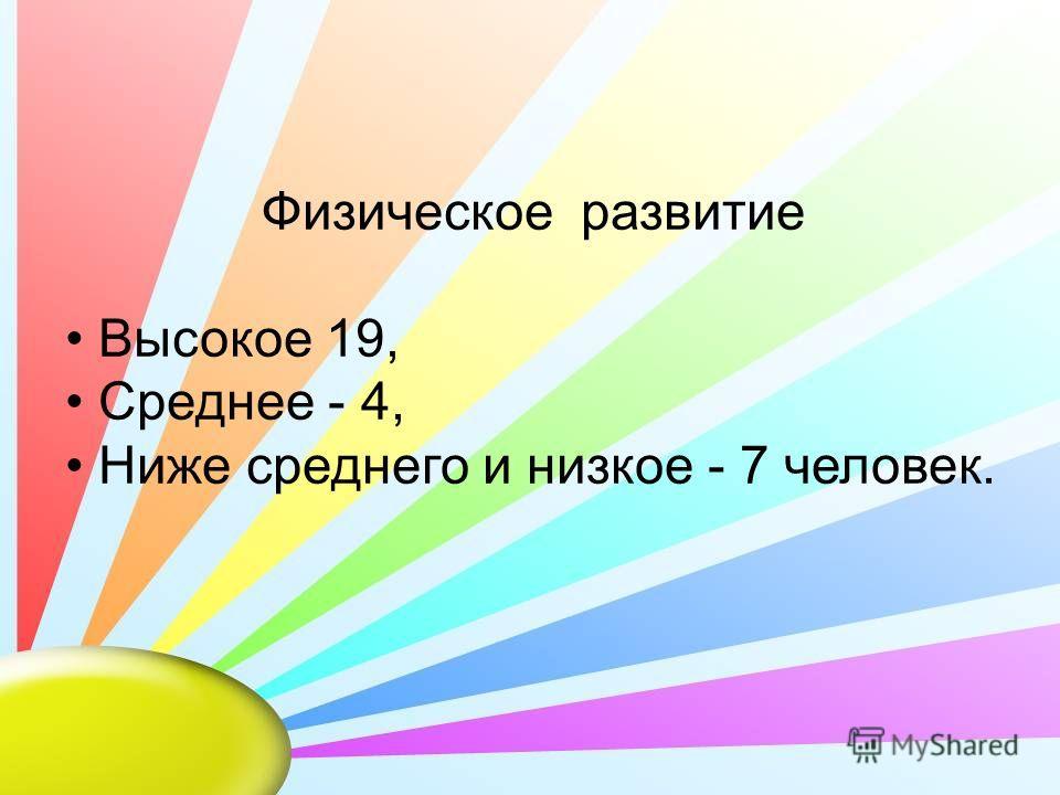Физическое развитие Высокое 19, Среднее - 4, Ниже среднего и низкое - 7 человек.