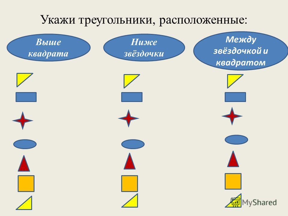 Укажи треугольники, расположенные: Выше квадрата Ниже звёздочки Между звёздочкой и квадратом
