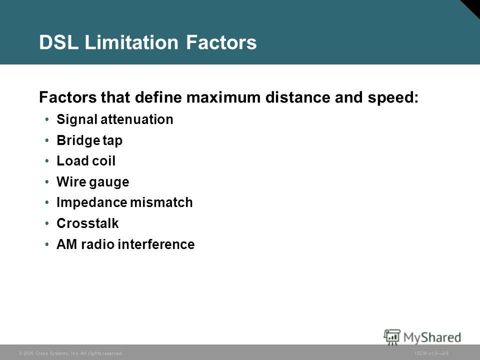 © 2006 Cisco Systems, Inc. All rights reserved.ISCW v1.02-9 DSL Limitation Factors Factors that define maximum distance and speed: Signal attenuation Bridge tap Load coil Wire gauge Impedance mismatch Crosstalk AM radio interference