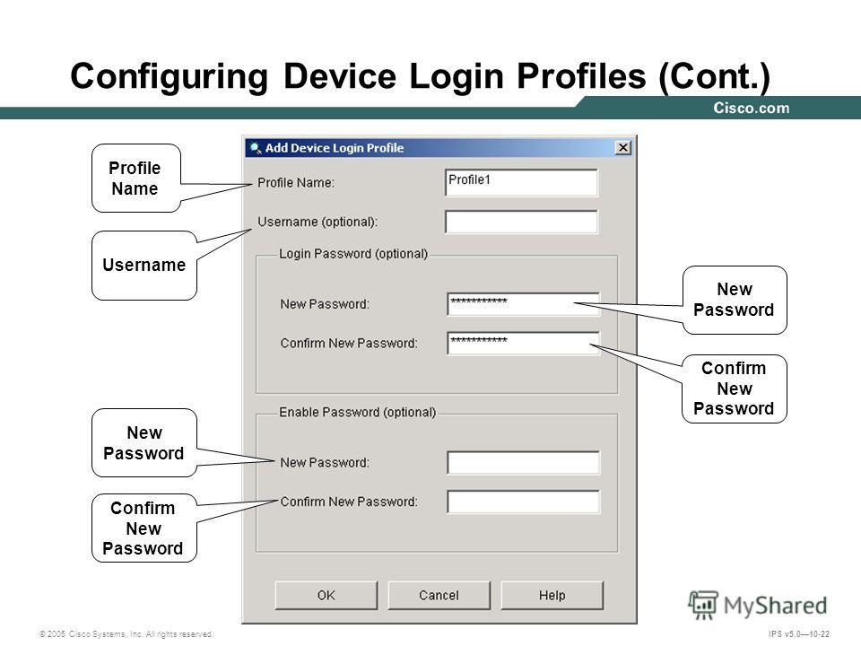 © 2005 Cisco Systems, Inc. All rights reserved. IPS v5.010-22 Configuring Device Login Profiles (Cont.) Profile Name Username New Password Confirm New Password New Password Confirm New Password
