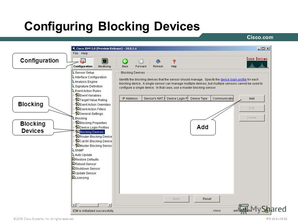 © 2005 Cisco Systems, Inc. All rights reserved. IPS v5.010-23 Configuring Blocking Devices Configuration Blocking Add Blocking Devices