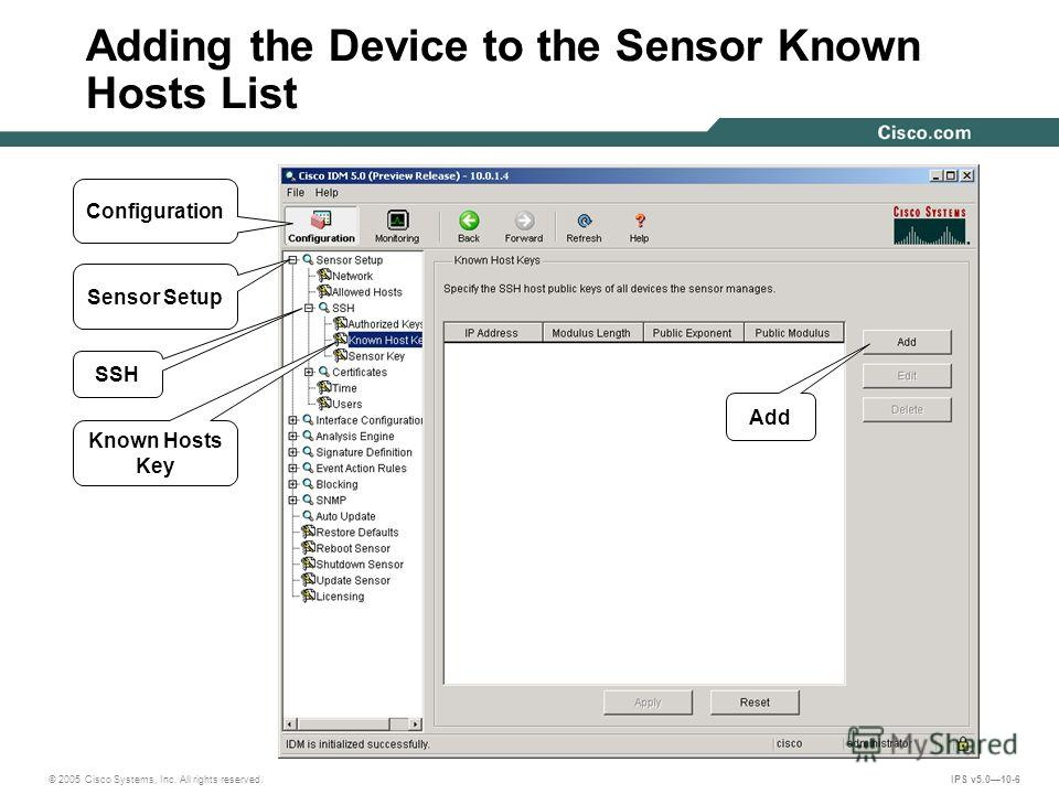 © 2005 Cisco Systems, Inc. All rights reserved. IPS v5.010-6 Adding the Device to the Sensor Known Hosts List Configuration SSH Known Hosts Key Add Sensor Setup