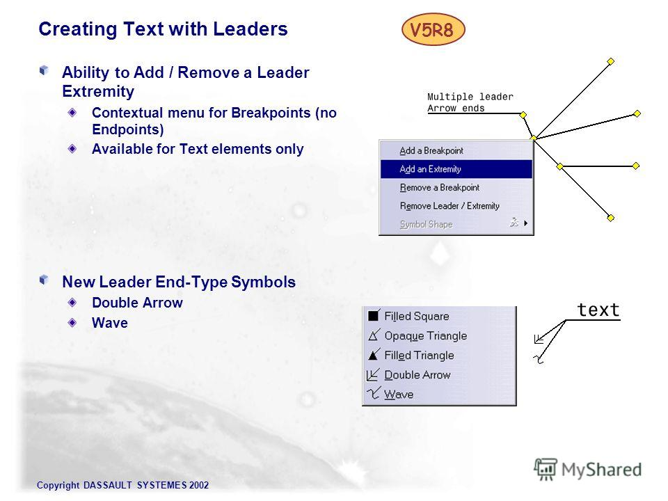 Copyright DASSAULT SYSTEMES 2002 Creating Text with Leaders Ability to Add / Remove a Leader Extremity Contextual menu for Breakpoints (no Endpoints) Available for Text elements only New Leader End-Type Symbols Double Arrow Wave V5R8