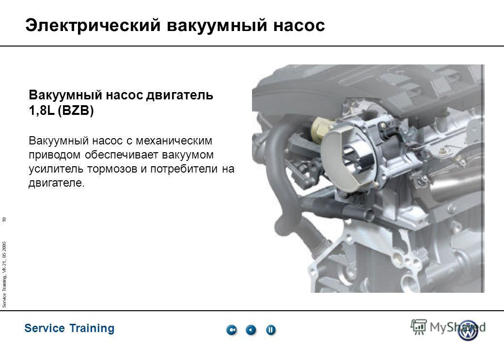 10 Service Training Service Training, VK-21, 05.2005 Электрический вакуумный насос Вакуумный насос двигатель 1,8L (BZB) Вакуумный насос с механическим приводом обеспечивает вакуумом усилитель тормозов и потребители на двигателе.