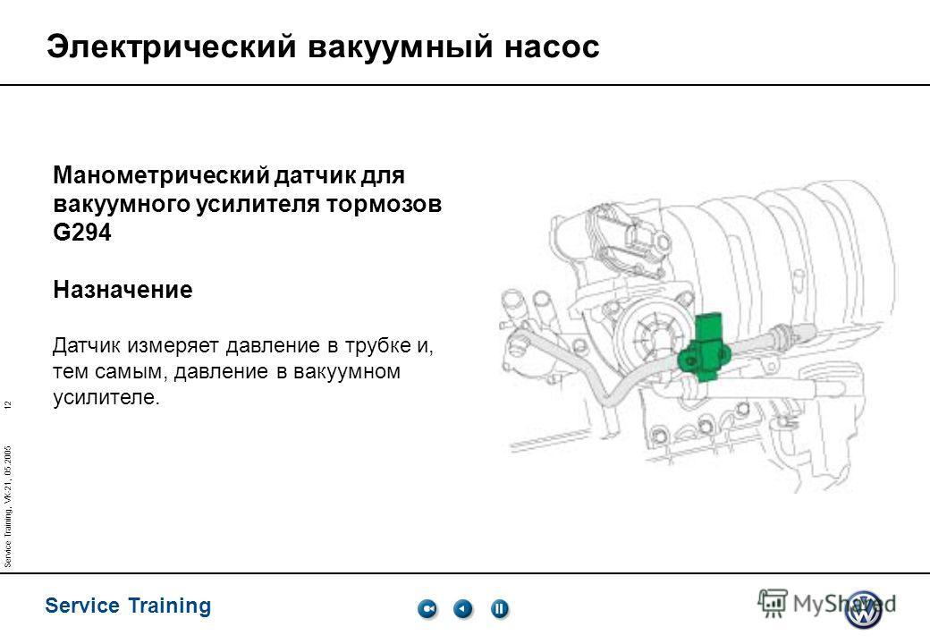 12 Service Training Service Training, VK-21, 05.2005 Электрический вакуумный насос Манометрический датчик для вакуумного усилителя тормозов G294 Назначение Датчик измеряет давление в трубке и, тем самым, давление в вакуумном усилителе.