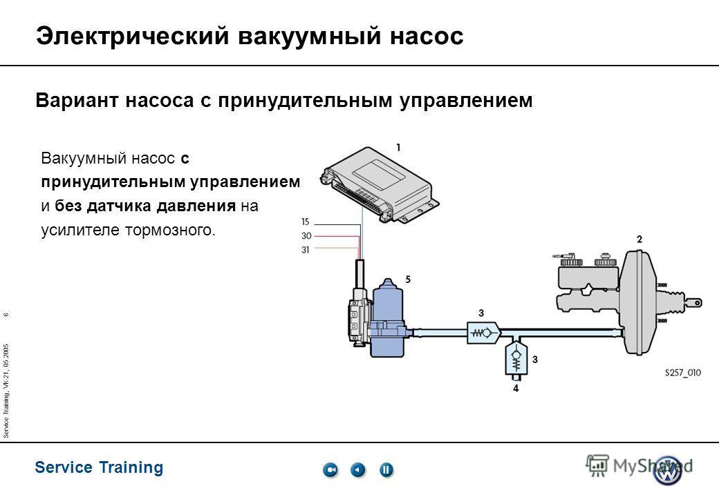 6 Service Training Service Training, VK-21, 05.2005 Электрический вакуумный насос Вакуумный насос c принудительным управлением и без датчика давления на усилителе тормозного. Вариант насоса с принудительным управлением