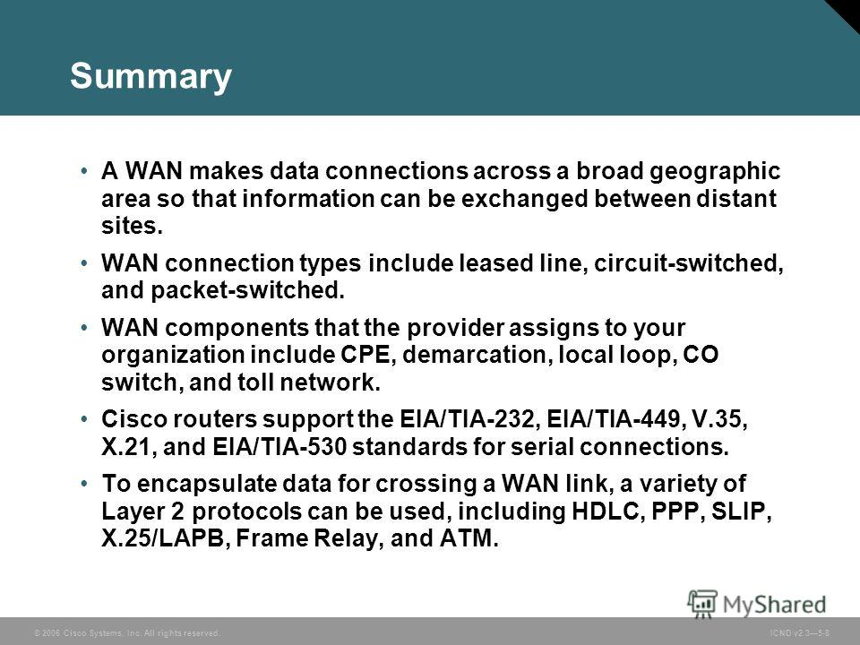 © 2006 Cisco Systems, Inc. All rights reserved. ICND v2.35-8 Summary A WAN makes data connections across a broad geographic area so that information can be exchanged between distant sites. WAN connection types include leased line, circuit-switched, a