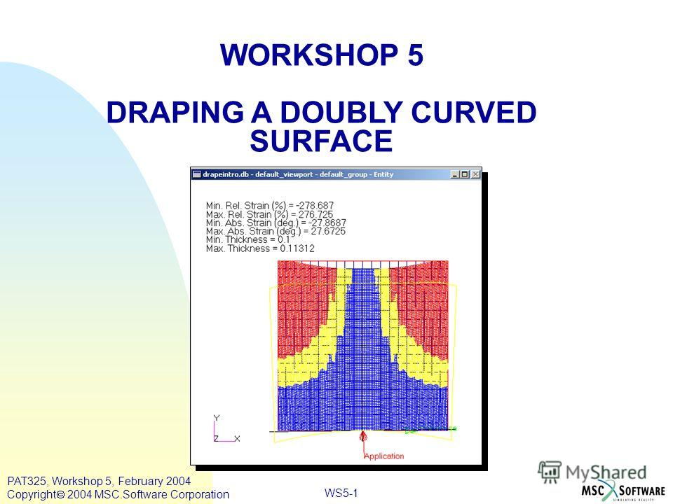 WORKSHOP 5 DRAPING A DOUBLY CURVED SURFACE WS5-1 PAT325, Workshop 5, February 2004 Copyright 2004 MSC.Software Corporation