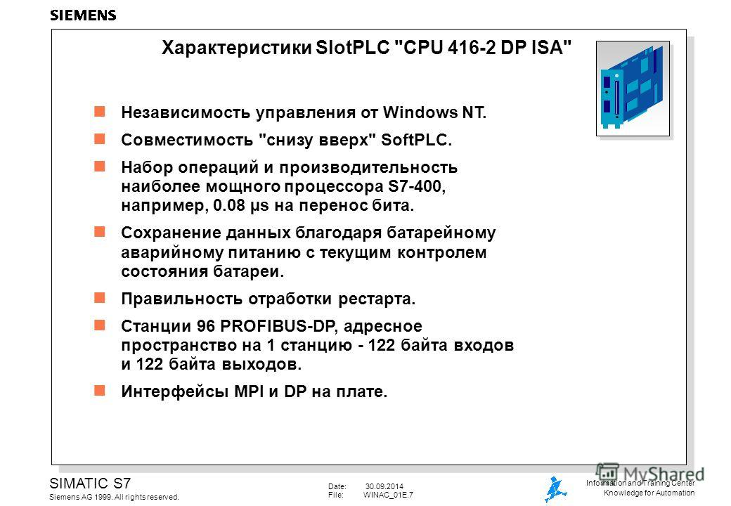 Date: 30.09.2014 File:WINAC_01E.7 SIMATIC S7 Siemens AG 1999. All rights reserved. Information and Training Center Knowledge for Automation Независимость управления от Windows NT. Совместимость