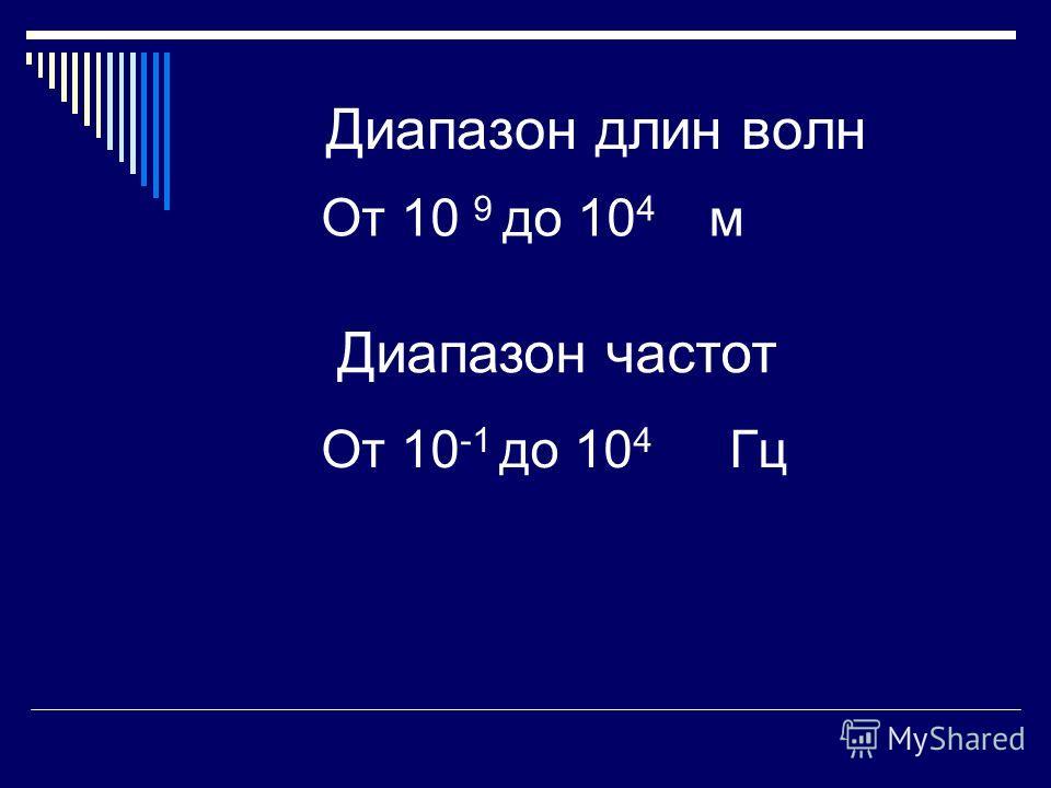 Диапазон длин волн От 10 9 до 10 4 м Диапазон частот От 10 -1 до 10 4 Гц