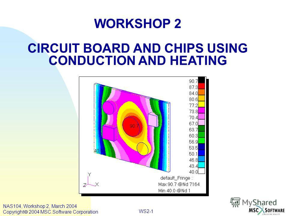 WS2-1 WORKSHOP 2 CIRCUIT BOARD AND CHIPS USING CONDUCTION AND HEATING NAS104, Workshop 2, March 2004 Copyright 2004 MSC.Software Corporation