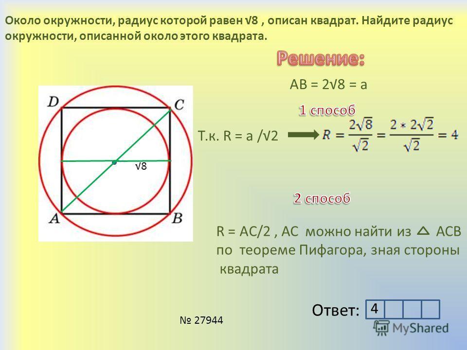 Около окружности, радиус которой равен 8, описан квадрат. Найдите радиус окружности, описанной около этого квадрата. 8 АВ = 28 = а Т.к. R = a /2 R = AC/2, АС можно найти из АСВ по теореме Пифагора, зная стороны квадрата Ответ: 4 27944