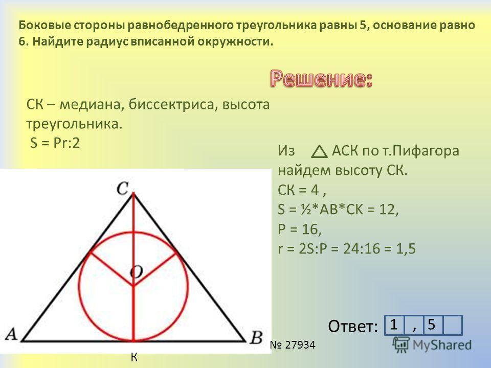 Боковые стороны равнобедренного треугольника равны 5, основание равно 6. Найдите радиус вписанной окружности. К СК – медиана, биссектриса, высота треугольника. Из АСК по т.Пифагора найдем высоту СК. СК = 4, S = ½*AB*CK = 12, P = 16, r = 2S:P = 24:16