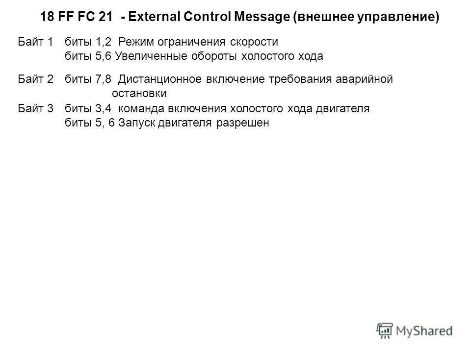 18 FF FС 21 - External Control Message (внешнее управление) Байт 1 биты 1,2 Режим ограничения скорости биты 5,6 Увеличенные обороты холостого хода Байт 2 биты 7,8 Дистанционное включение требования аварийной остановки Байт 3 биты 3,4 команда включени