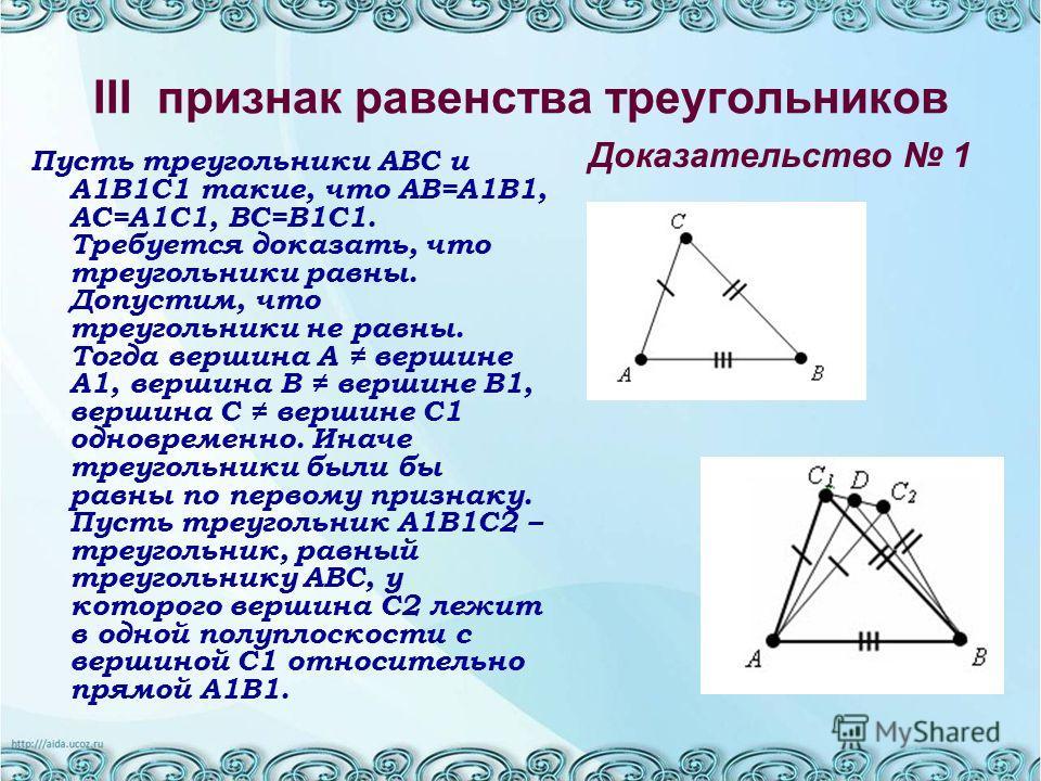 III признак равенства треугольников Пусть треугольники ABC и A1B1C1 такие, что AB=A1B1, AC=A1C1, BC=B1C1. Требуется доказать, что треугольники равны. Допустим, что треугольники не равны. Тогда вершина A вершине A1, вершина B вершине B1, вершина C вер