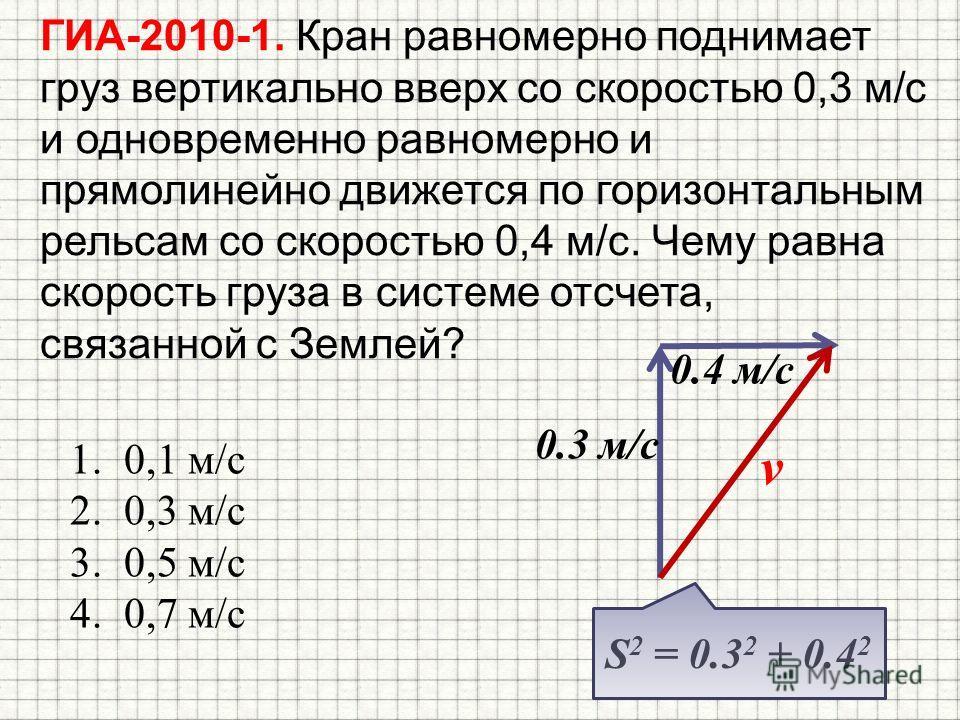 ГИА-2010-1. Кран равномерно поднимает груз вертикально вверх со скоростью 0,3 м/с и одновременно равномерно и прямолинейно движется по горизонтальным рельсам со скоростью 0,4 м/с. Чему равна скорость груза в системе отсчета, связанной с Землей? 1.0,1