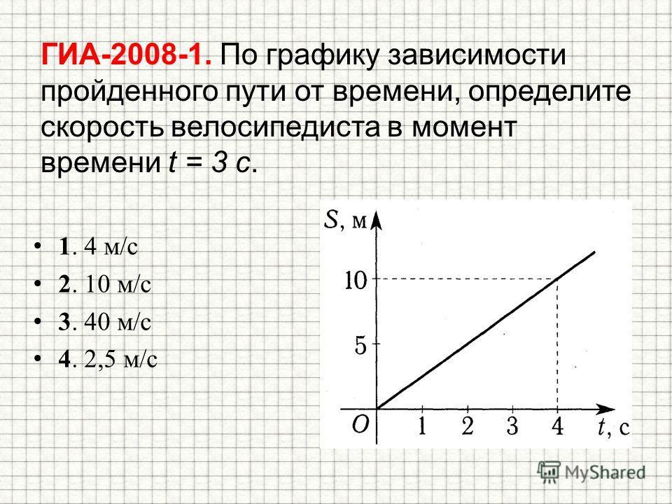 ГИА-2008-1. По графику зависимости пройденного пути от времени, определите скорость велосипедиста в момент времени t = 3 с. 1. 4 м/с 2. 10 м/с 3. 40 м/с 4. 2,5 м/с