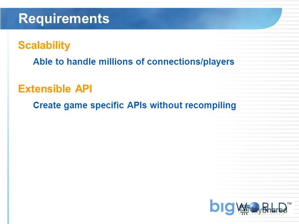 Requirements Scalability Able to handle millions of connections/players Extensible API Create game specific APIs without recompiling