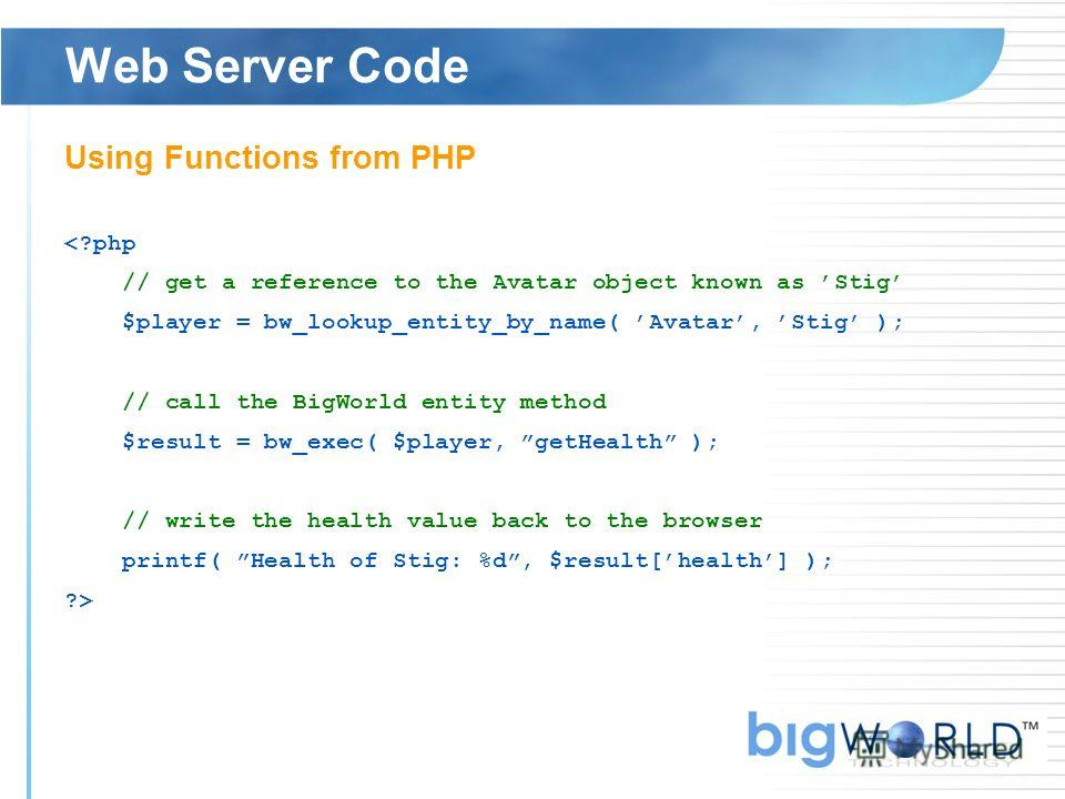 Web Server Code Using Functions from PHP
