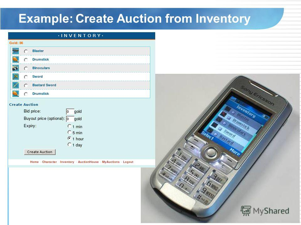 Example: Create Auction from Inventory