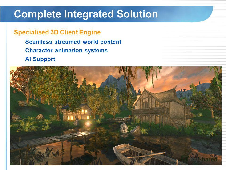 Complete Integrated Solution Specialised 3D Client Engine Seamless streamed world content Character animation systems AI Support