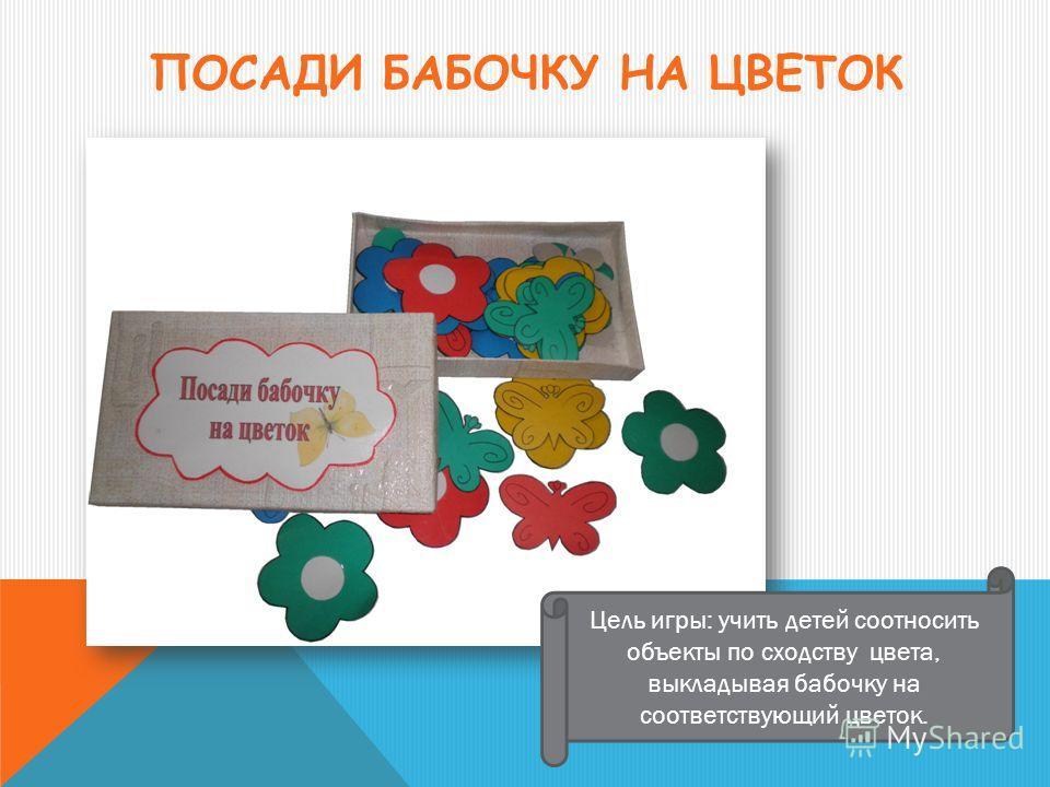ПОСАДИ БАБОЧКУ НА ЦВЕТОК Цель игры: учить детей соотносить объекты по сходству цвета, выкладывая бабочку на соответствующий цветок.