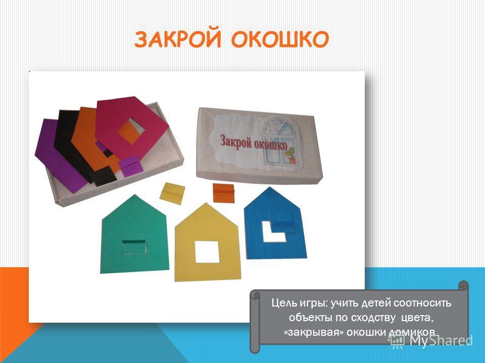 ЗАКРОЙ ОКОШКО Цель игры: учить детей соотносить объекты по сходству цвета, «закрывая» окошки домиков.