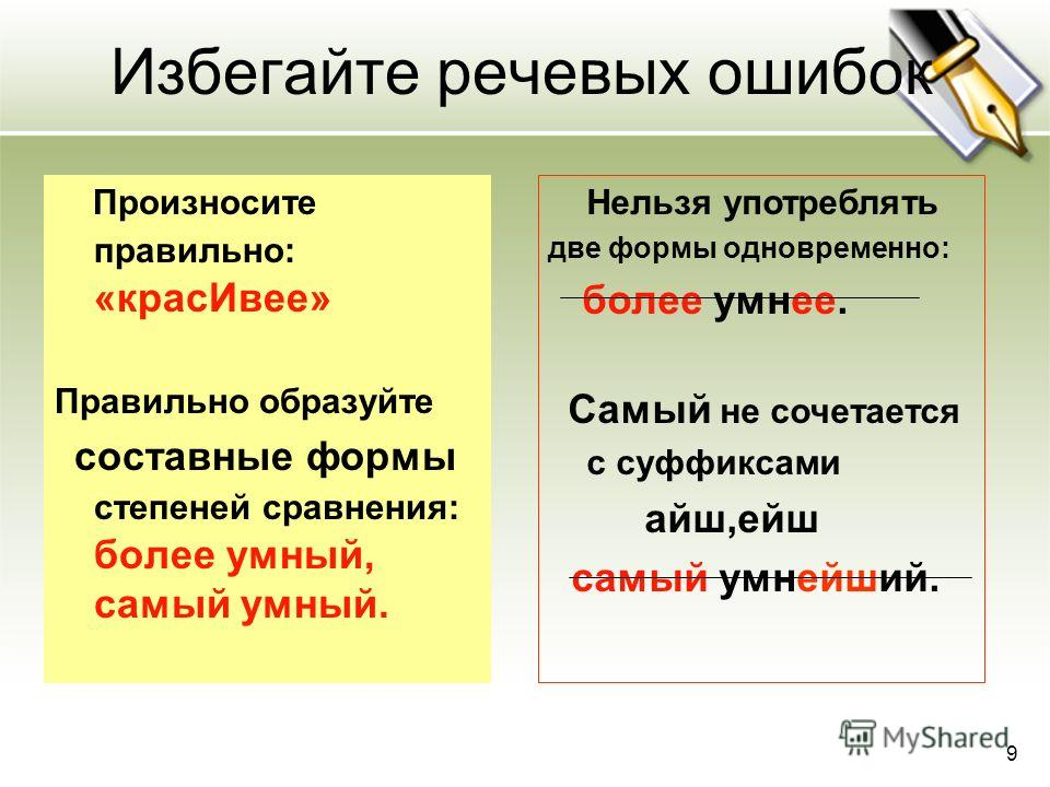 Избегайте речевых ошибок Произносите правильно: «крас Ивее» Правильно образуйте составные формы степеней сравнения: более умный, самый умный. Нельзя употреблять две формы одновременно: более умнее. Самый не сочетается с суффиксами айш,ейш самый умней