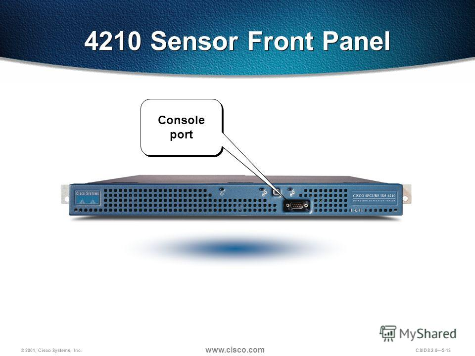 © 2001, Cisco Systems, Inc. www.cisco.com CSIDS 2.05-13 4210 Sensor Front Panel Console port