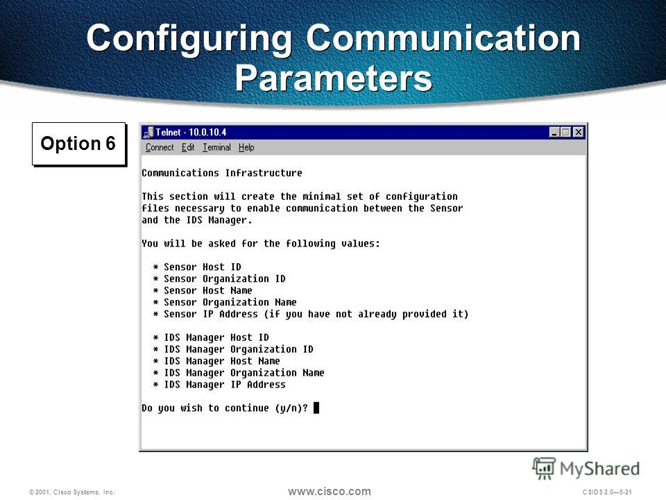 © 2001, Cisco Systems, Inc. www.cisco.com CSIDS 2.05-21 Configuring Communication Parameters Option 6
