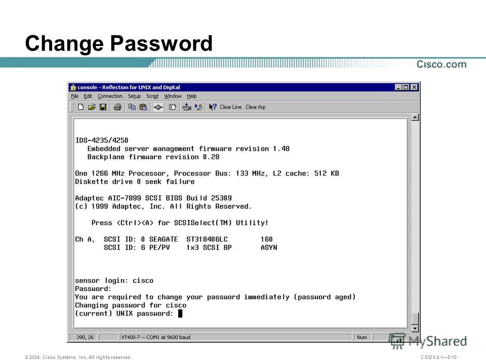 © 2004, Cisco Systems, Inc. All rights reserved. CSIDS 4.15-10 Change Password