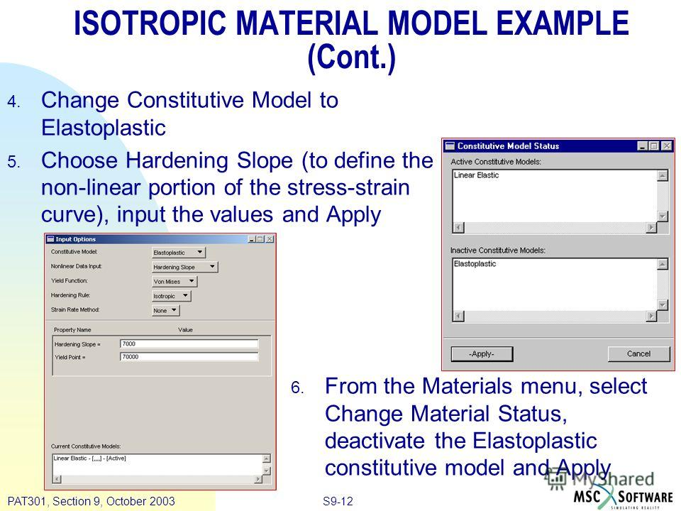 S9-12PAT301, Section 9, October 2003 ISOTROPIC MATERIAL MODEL EXAMPLE (Cont.) 4. Change Constitutive Model to Elastoplastic 5. Choose Hardening Slope (to define the non-linear portion of the stress-strain curve), input the values and Apply 6. From th
