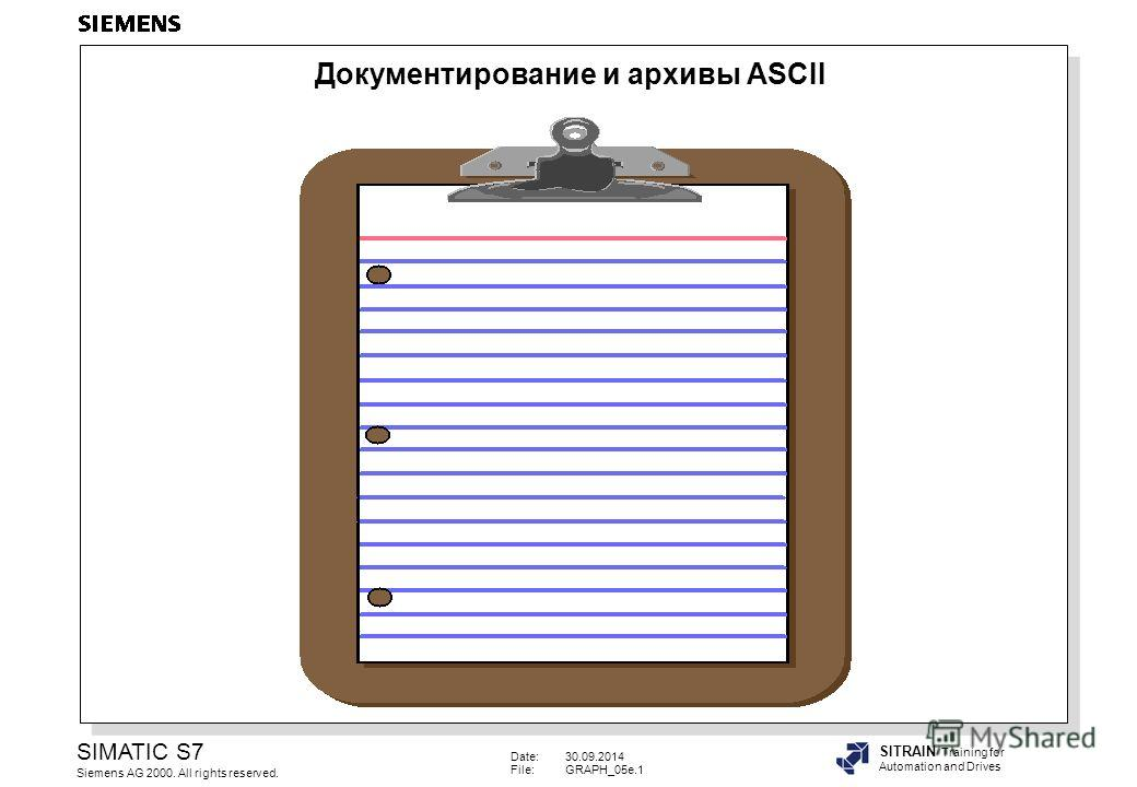 Date:30.09.2014 File:GRAPH_05e.1 SIMATIC S7 Siemens AG 2000. All rights reserved. SITRAIN Training for Automation and Drives Документирование и архивы ASCII