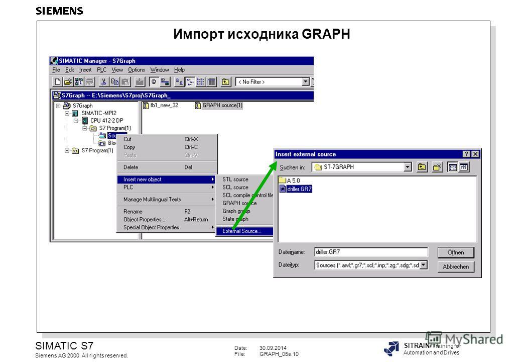 Date:30.09.2014 File:GRAPH_05e.10 SIMATIC S7 Siemens AG 2000. All rights reserved. SITRAIN Training for Automation and Drives Импорт исходника GRAPH