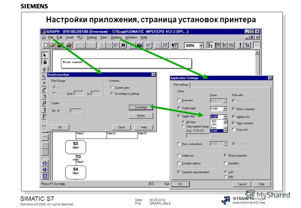Date:30.09.2014 File:GRAPH_05e.5 SIMATIC S7 Siemens AG 2000. All rights reserved. SITRAIN Training for Automation and Drives Настройки приложения, страница установок принтера