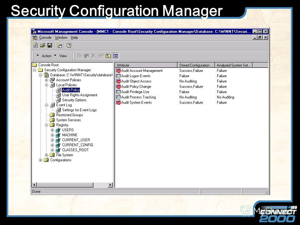 Slide Title Security Configuration Manager