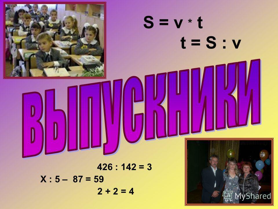 S = v * t t = S : v 426 : 142 = 3 Х : 5 – 87 = 59 2 + 2 = 4